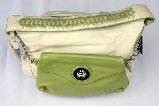 Picture of White Handbag with Big Light Green Pocket