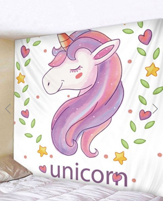 Picture of Fabric Wall Tapestry Unicorn 59 x 51 Inches